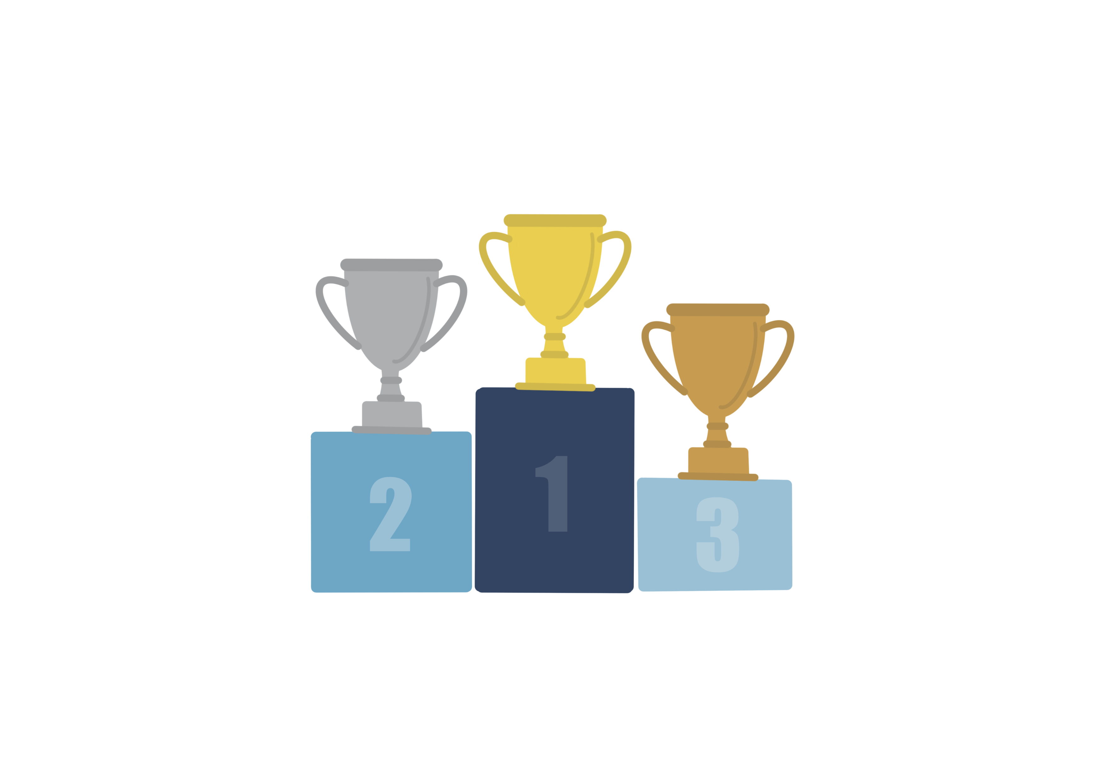 illustration of ranking first second and third place trophies
