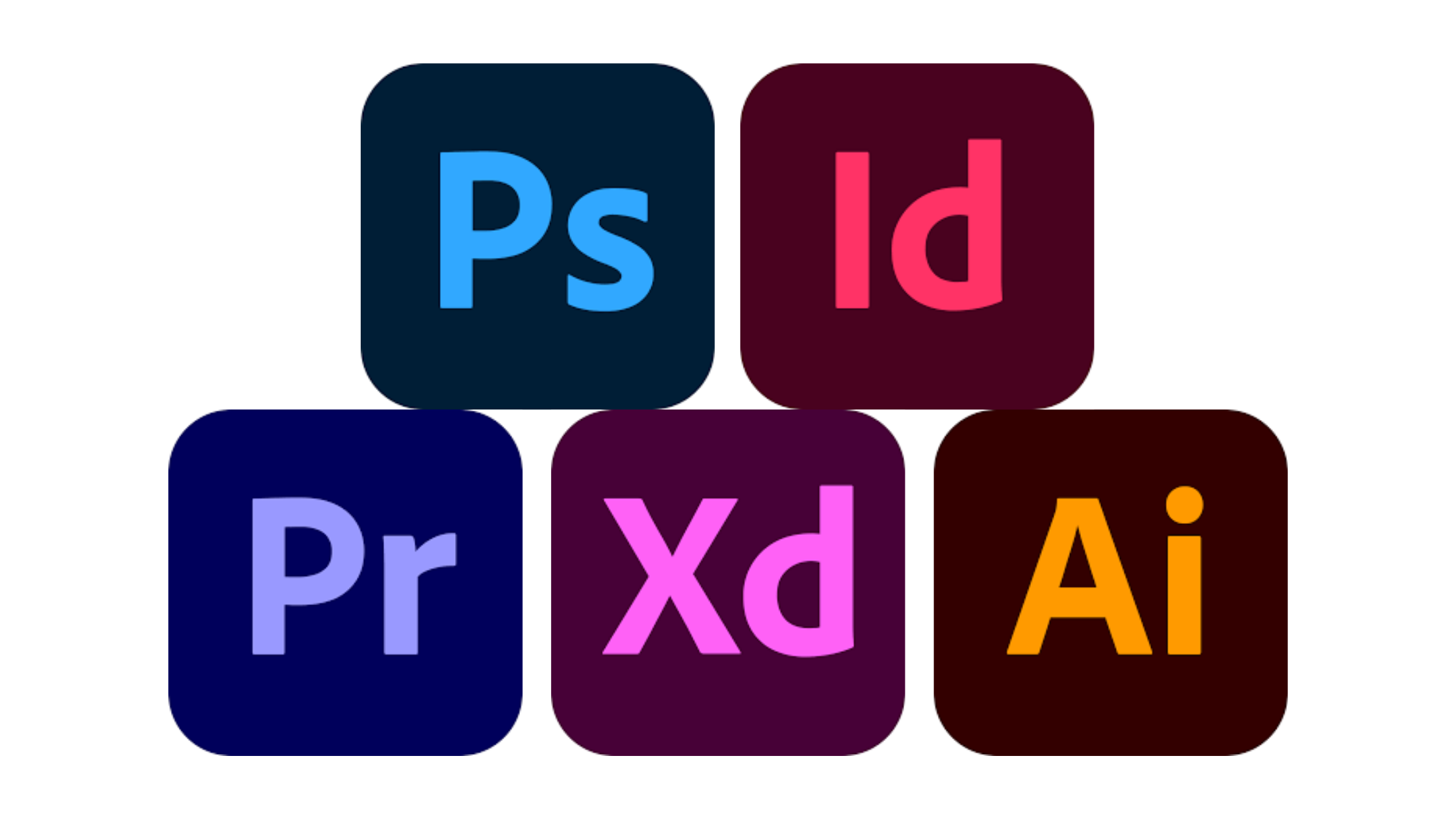 Adobe logos for photoshop indesign premiere pro xd and illustrator