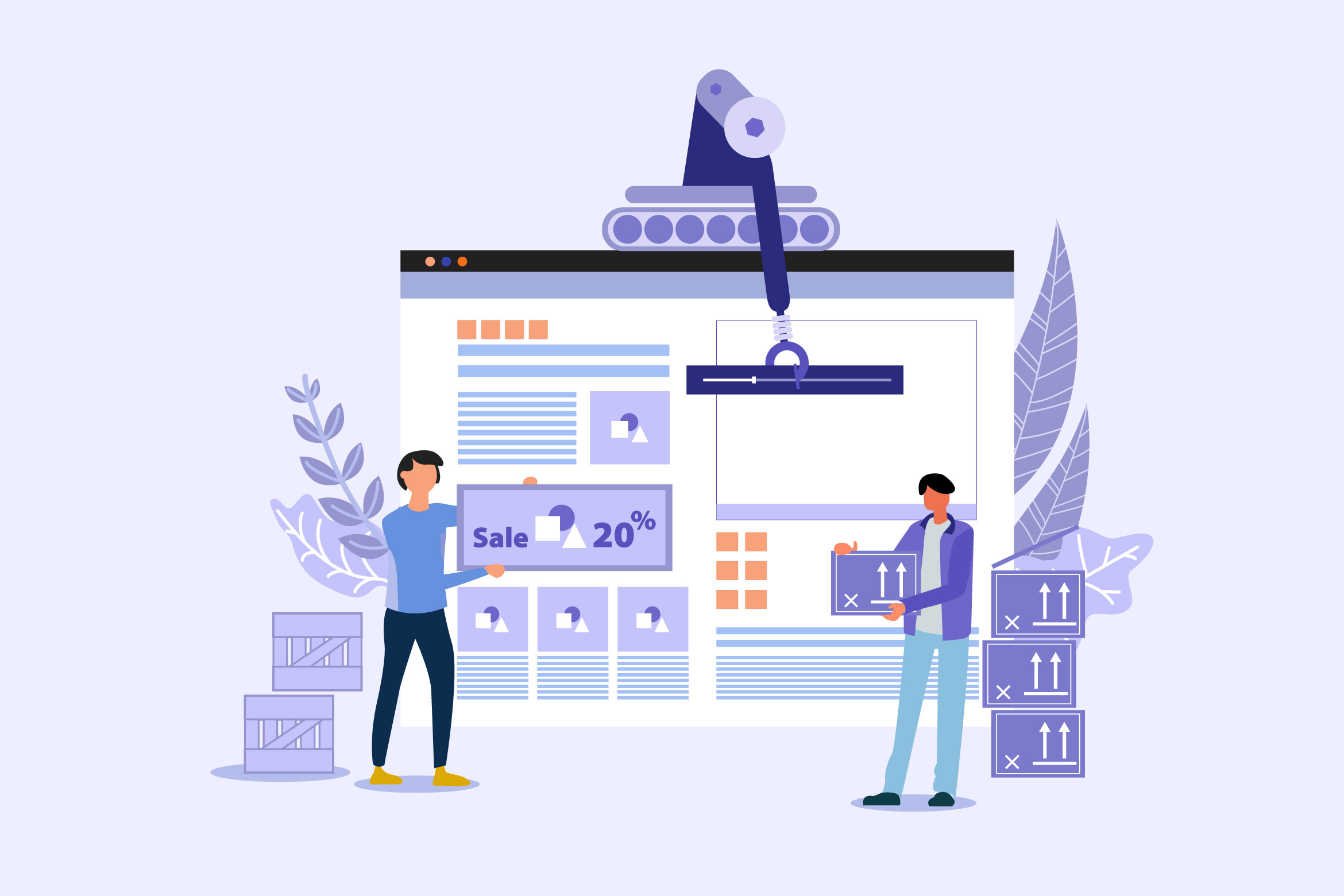 illustration of website being built by people