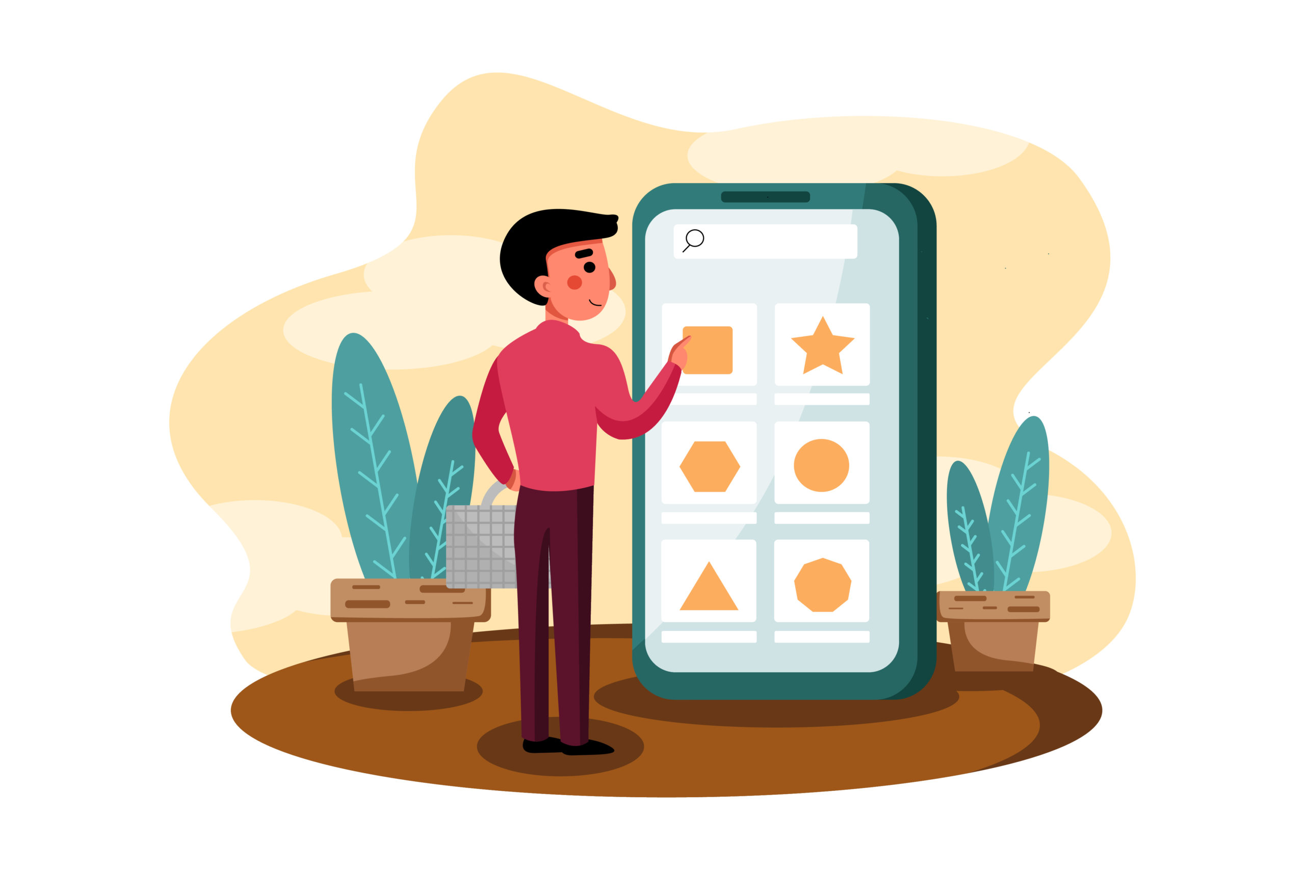 illustration of a man using a phone to make a choice on an e-commerce website