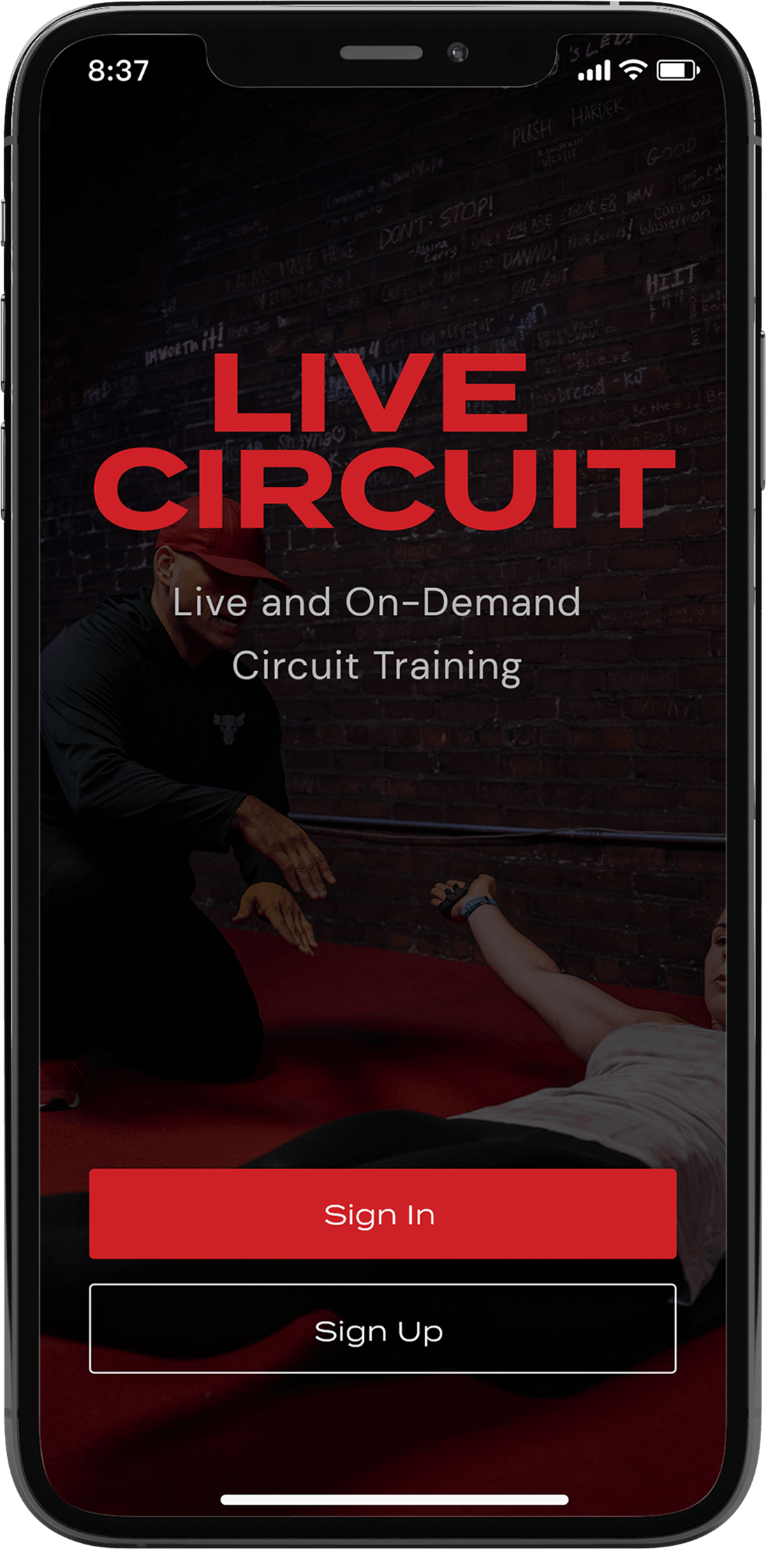 prototype design of live circuit mobile app sign in page