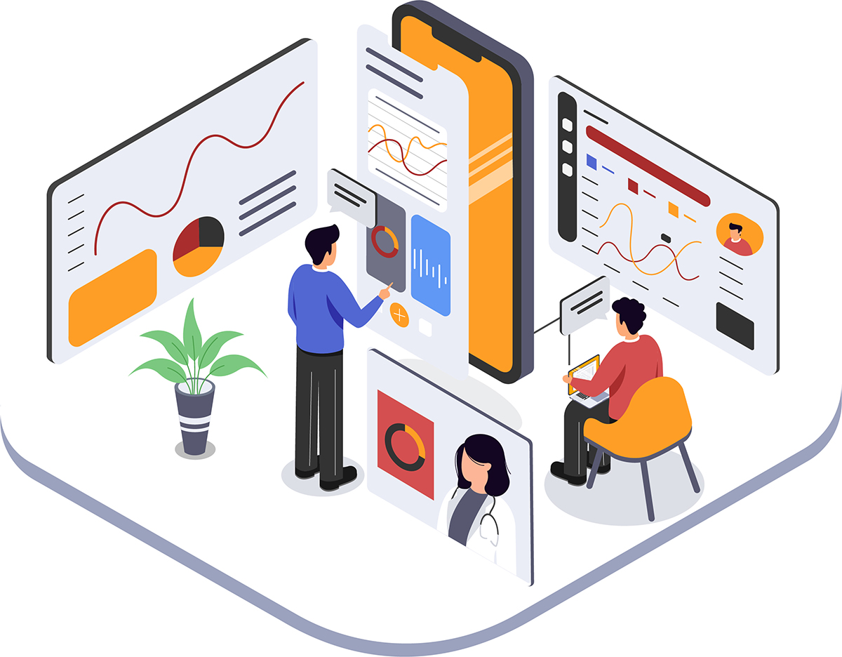 illustration of experts researaching data on user interface and user research for a mobile data application