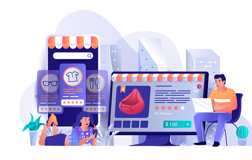 Illustration of users shopping online