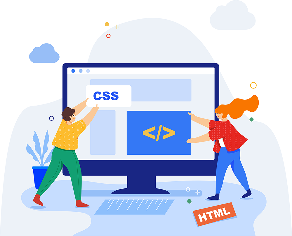 Illustration of developers writing CSS