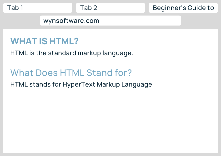 Image displaying how headings appear in browser